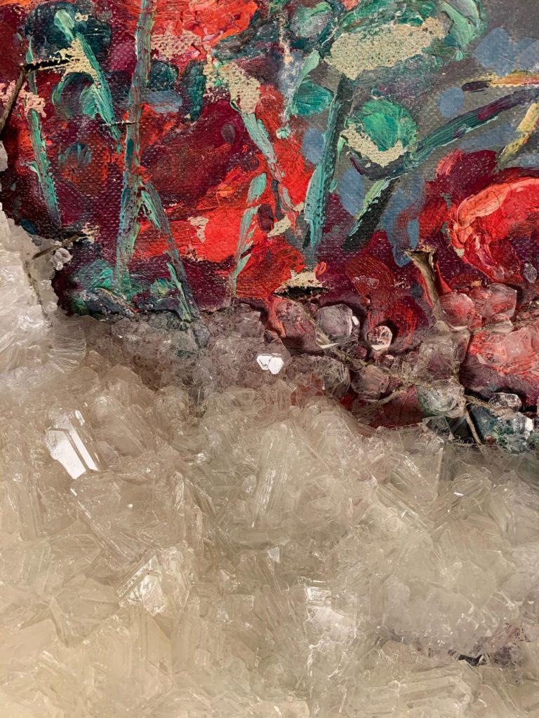 Francesca Romana Pinzari, Senza titolo, 2020, allume di rocca su  tela dipinta (particolare)