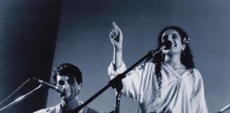 Achinoam Nini (Noa) and Gil Dor in their first concert, February 8th 1990. Photo by Eyal Drori